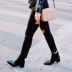 MARC FISHER YALE BLACK LEATHER POINTED BOOTIES